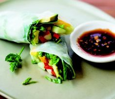 Mango-Avocado Summer Rolls with Sweet and Sour Dipping Sauce
