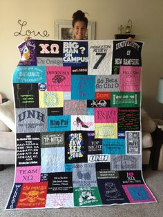 T-shirt quilt that is not even blocks and rows. This is what I want my t-shirt quilt(s) to look like when I finally make them.