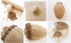 Christmas DIY : Making Burlap Acorns with real acorn shells Acorn Crafts, Pumpkin Crafts, Primitive Crafts, Fall Halloween, Halloween Crafts, Christmas Crafts, Burlap Projects, Burlap Crafts, Autumn Crafts