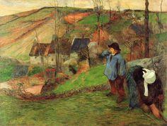 Paul Gauguin.  Bretonischer Schäfer. 1888, Öl auf Leinwand, 89,3 × 116,6 cm. Tokyo, National Museum of Western Art. Synthetismus. Frankreich. Postimpressionismus.  KO 01365
