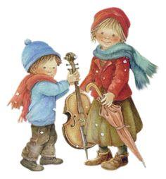 by Lisi Martin Spanish) Christmas Pictures, Kids Christmas, Vintage Christmas, Cosy Christmas, Holly Hobbie, Vintage Pictures, Vintage Images, Boy Cards, Sarah Kay