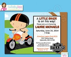 These cute biker baby shower invitations are fun and unique baby shower invitations for all of you Harley ridin' mamas out there!  Each biker baby shower invitation is custom made with your baby showe