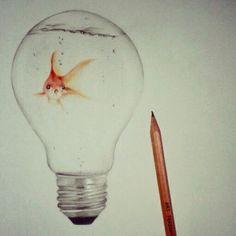 Fish in light bulb, drawing ~Fleur de Vree
