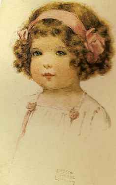Bessie Pease Gutmann Little Girl with Pink Bow Counted Cross Stitch Chart
