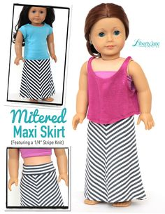 Casual Summer Style! Make a Mitered Maxi Skirt for your 18 inch American Girl Doll with the new Mitered Maxi Skirt Doll Clothes pattern - new from Liberty Jane!