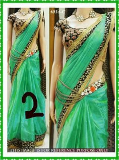 Bollywood Special - Bollywood Replica - Party Wear Green Saree - - Products Details :Style : Bollywood Replica Wedding Wear / Party Wear Saree Length Of Saree : - Bollywood Replica Fancy Sarees, Party Wear Sarees, Dress Indian Style, Indian Outfits, New Designer Dresses, Designer Sarees, Sarees For Girls, Sari Dress, Green Saree