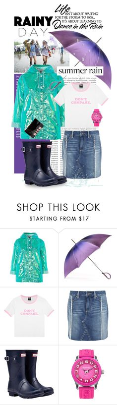 """Splish Splash: Rainy Day Style"" by shortyluv718 ❤ liked on Polyvore featuring Oris, Topshop, Black, WALL, Paige Denim, Hunter, Superdry, MSGM and rainyday"