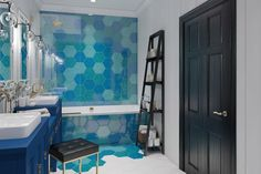 Azure tiles in bathroom in Samara by INC Design