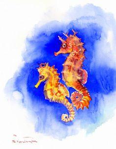showantell:  Blue Seahorse Painting, original watercolor 14 x 11 in, blue wall art, sea world animal art, sea animals, seahorse by ORIGINALONLY (57.00 USD) http://ift.tt/1F76UFG