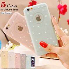 Candy Color Matte Frame + Soft TPU Clear Phone Case For iPhone 6 6S Plus 4.7&5.5 5S SE Full Body Glitter Transparent Cover Bag