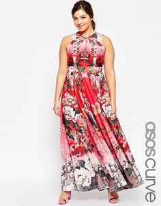 ASOS CURVE SALON Fading Floral Print Maxi Dress