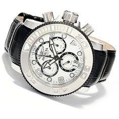 Invicta Mens Sea Hunter Elegant Swiss Made Quartz Chronograph Leather Strap Watch
