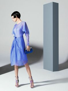 chiffon dress, silk clutch and sandals all by Giorgio #Armani