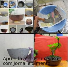 Vaso de Jornal e cimento!  Faça Você mesmo Vasos para as suas Plantas, reaproveitando folhas de Jornal,  Materiais: *500 gra...