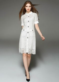 White Lace Summer Dress-----------------Black White Lace Solid Short Sleeve Above Knee Dresses