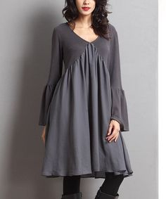 Love this Charcoal Bell-Sleeve Dress by Reborn Collection on #zulily! #zulilyfinds