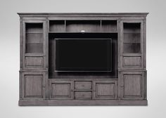 "114""w 60"" tv 79""h Wagner Glass-Door Media Center - Ethan Allen"