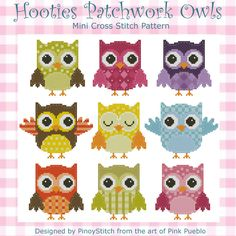 Lovely Patchwork Hootie Owls are great to stitch as is or create your own sampler using each individual owls.