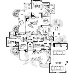 This adobe / southwestern design floor plan is 2982 sq ft and has 4 bedrooms and has 3 bathrooms. Courtyard House Plans, House Floor Plans, The Plan, How To Plan, Plan Plan, Villa Plan, I Love House, Mountain House Plans, Adobe House