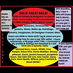 ✂️MAJOR SALE & PRICE CUTS ✂️ This sale will not last long so come now. Time is ticking! ⌛️Let's move some of this inventory!! I do except reasonable offers, also!! I have a chart for you in the second picture to help you see what is reasonable and what is not. , Buy one get one 50% off on items $40 and up of equal or less value. Buy 3 pre-owned tops for 20$. Buy 2 at $20 or lower & get 1 FREE! 25% OFF bundles OF 3 or more! 10.00 off $100. $5. Off of $50.00! Make offers on jackets…