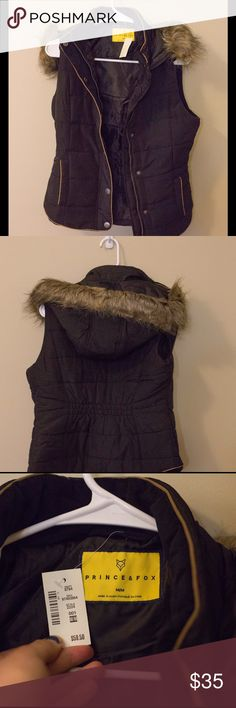 NWT prince and fox vest Prince and fox vest with fur lined hood, new with tags. Purchased from Aeropostale. Faux fur, 100% polyester. Buttons and zippers on the front, black color Jackets & Coats Vests