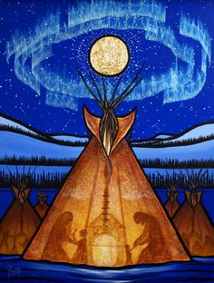 Returning Home  by Aaron Paquette   Though the journey seems far, we are never alone. The spirits of the land surround us, the spirits of the sky watch over us, and the Great Spirit, our Creator, leads us to our greatest happiness. It's hard to believe it when we are alone in the wilderness, but come home, be safe, be warm. Come home and rest. Come home at last, and heal.