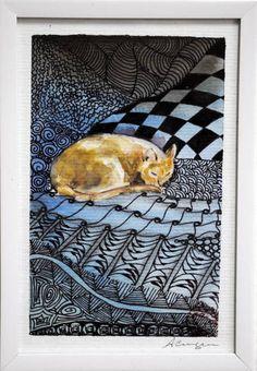 Aquarela 10 x 15 cm com moldura de PVC R$ 80,00