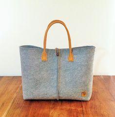 grey felt bag. Tote bag Felt bag Felted by AlmaHandmadeInMilan