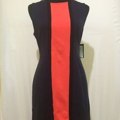 NWT Worthington Color Block Dress Gorgeous, NEVER WORN, navy and coral color blocked dress. New, with tags. Made with soft, stretch material. Great for the office or dinner with friends. Looking for a great home! Worthington Dresses Midi