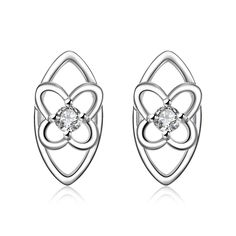 Best Gift silver 925 earings fashion jewelry Four Leaf Flower Center stud pendientes to.us bear charms