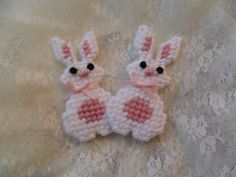 Bunnies for Spring Needlepoint White by BunniesMadeOfBread on Etsy