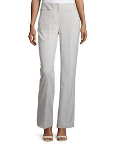Straight-Leg Stretch-Woven Suiting Pants, Zinc/Ivory