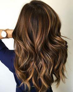 brown highlights Dark hair with