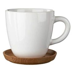 Höganäs Coffee Mug with Saucer, White Glazed ($23) ❤ liked on Polyvore featuring home, kitchen & dining, drinkware, white coffee mugs and white saucers