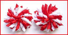 Red & White Korker Hair Bows-