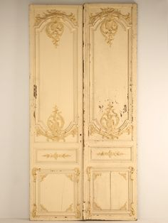 antique french doors   Pair Antique French Chateau Doors with Original Paint on Wanelo