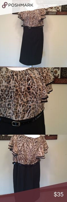 Cap sleeve belted dress Great wear to work dress. The top is a black, tan, and cream animal print that is semi sheer. Sleeves are capped. This has a black belt. The bottom is black and has some stretch to it and zips up the back. The necklace is not included. Alyx Woman Dresses