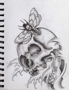 Skull and Moth by Frosttattoo on DeviantArt