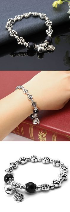 Bracelets beads silver crystal rose simple pendant bead bracelets for women #8 #diamond #bracelets #bracelets #877 #bracelets #of #america #o #que #é #bracelets