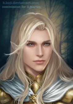 m Wood Elf Paladin Plate Armor Cloak Brooch portrait male Forest Community autumn Glorfindel by K-Koji DeviantArt lg Arte Digital Fantasy, Fantasy Art Men, Fantasy Rpg, Medieval Fantasy, Fantasy Artwork, Fantasy Character Design, Character Inspiration, Character Art, Fantasy Portraits