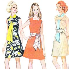 1960s Dress Pattern McCalls 9754 Square Neckline A Line Sleeveless Mod Mini Dress Scarf Womens Vintage Sewing Pattern Bust 38