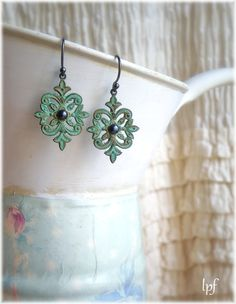 Earrings, Night Song bohemian verdigris patina and freshwater pearls earrings.Le Petit Foyer