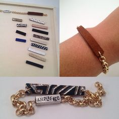 Unique, handmade, double sided bar bracelet with leather link charm and personalization. This bracelet is reversible, thats