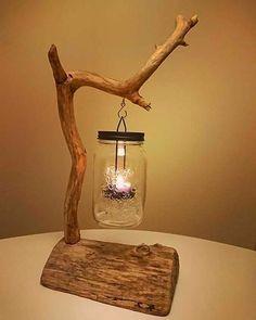Driftwood Furniture, Cute Furniture, Driftwood Lamp, Driftwood Crafts, Wooden Decor, Wooden Diy, Diy Wood Projects, Furniture Projects, Lampe Decoration