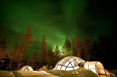 To stay in a glass igloo, Iceland