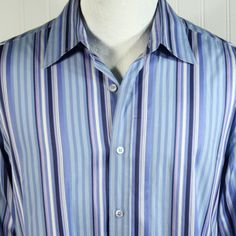 Ted Baker London size 5 XL Blue Purple Stripe French Cuff Slim Fit Dress Shirt #TedBaker #ButtonFront