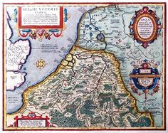 """The Low Countries in Roman times - """"Belgii Veteris Typus"""", map from 1594 by Abraham Ortelius Early World Maps, All World Map, Vintage Maps, Antique Maps, Holland Map, Thor, Hellenistic Period, Germanic Tribes, World Maps"""