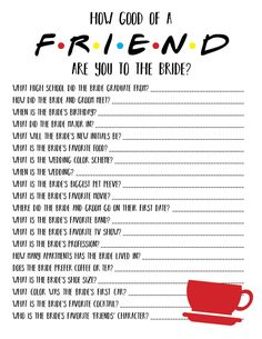 weddings - Friends Bridal Shower Game Friends Bachelorette Game Friends TV Show How Well Do You Know The Bride Game How Good Of A Friend Game Bridal Party Games, Bachelorette Party Themes, Wedding Shower Games, Bridal Shower Party, Wedding Games, Wedding Ideas, Wedding Venues, Wedding Music, Dream Wedding