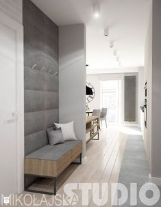 An option to integrate a bench with a wardrobe in the drop zone close to the entrance door. Entrance Foyer, House Entrance, Entryway Decor, Hall House, Entryway Ideas, Hallway Ideas, Design Hall, Flur Design, Interior Architecture