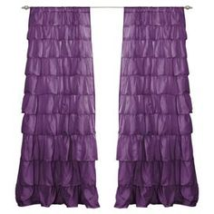 """Ruffled purple curtain.  Product: CurtainConstruction Material: Polyester  Color: PurpleFeatures: Ruffle designDimensions: 84"""" H x 50"""" WNote: Price is for one curtain only"""